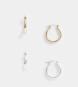 Accessorize Exclusive tubular hoop earrings multipack in gold and silver