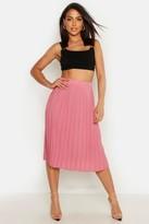 boohoo Neave Crepe Pleated Midi Skirt