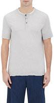 James Perse MEN'S SHORT-SLEEVE HENLEY-GREY SIZE 4