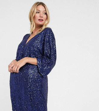 Club L Maternity Club L London Maternity sequin knot front mini dress with kimono sleeves in navy