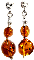 Goldmajor Amber Silver Drop Earrings, Cognac
