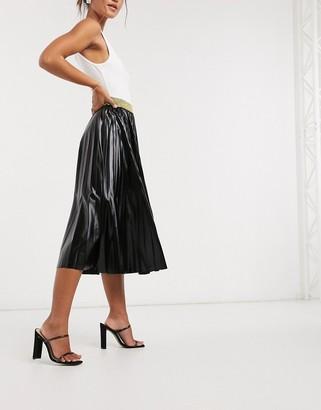 John Zack pleated metallic midi skirt in black