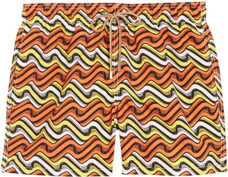 Bugatchi Wave Print Swim Trunks