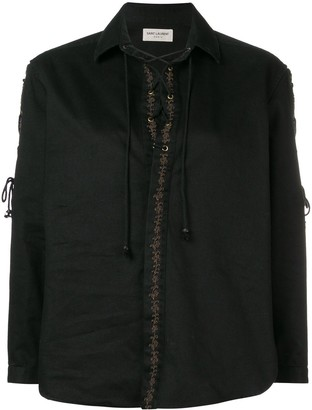 Saint Laurent Embroidered Lace-Up Blouse