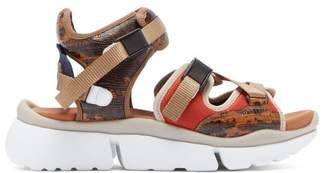 Chloé Lizard-effect Leather Multi-strap Sandals - Womens - Brown Multi