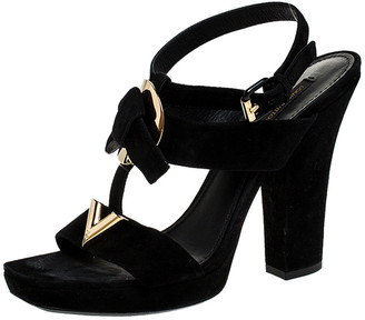 Louis Vuitton Black Suede Medallion Sandals Size 39.5