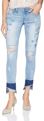Grace in LA Women's Boho Embroidered Skinny Jeans