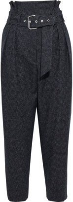IRO Pluton Cropped Belted Wool Tapered Pants