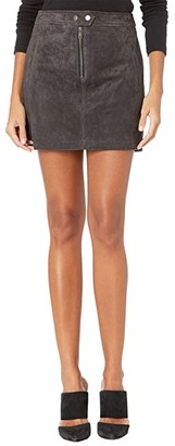 Blank NYC Real Suede Miniskirt with Zipper Front Detail (Moon Child) Women's Skirt