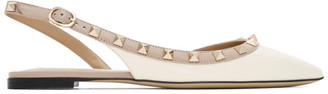 Valentino White Garavani Rockstud Slingback Ballerina Flats