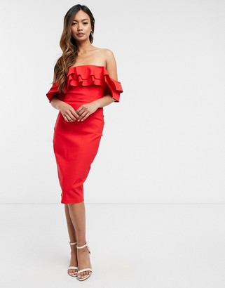 Vesper off-shoulder bodycon midi dress in red