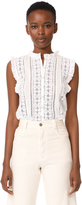 Rebecca Taylor Sleeveless Voile & Lace Top
