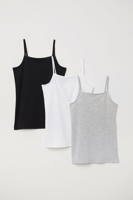 H&M 3-pack Camisole Tops - Gray