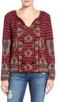 Lucky Brand Women's Placed Print Peasant Top