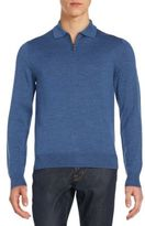 Saks Fifth Avenue Zip Collar Merino Wool Sweater