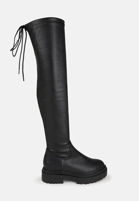 Missguided Black Chunky Over The Knee Tie Boots