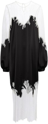 Costarellos Marsilia lace-trimmed satin midi dress