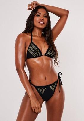 Missguided Black Stud Triangle Bikini Top