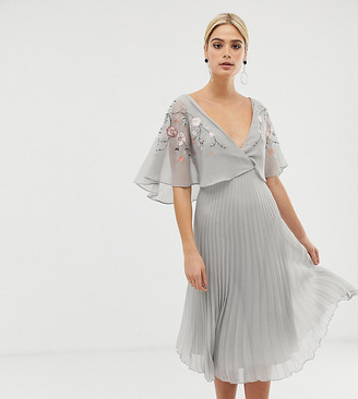 Asos Tall ASOS DESIGN Tall flutter sleeve midi dress with pleat skirt in embroidery