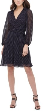 DKNY Balloon-Sleeve Dot-Print Dress