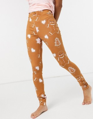 Monki Ed organic cotton co-ord Christmas gingerbread man leggings in beige