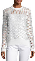 MICHAEL Michael Kors Long-Sleeve Sequined Mesh Sweater, White