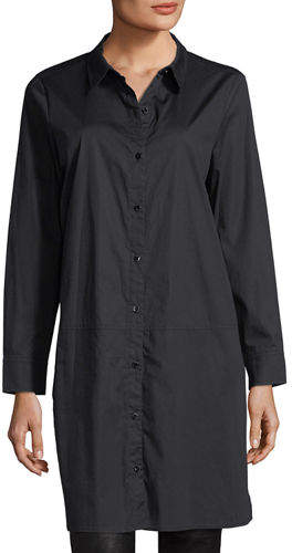 Eileen Fisher Long-Sleeve Stretch-Cotton Lawn Shirtdress