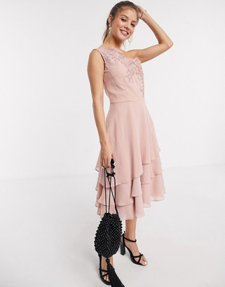 Chi Chi London Chi Chi Nour tiered onr shoulder midi dress with lace embroidery in rose gold