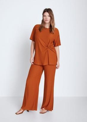 MANGO Violeta BY Textured flowy pants burnt orange - XXL - Plus sizes