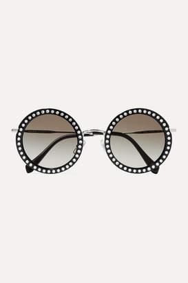 Miu Miu Crystal-embellished Round-frame Acetate And Silver-tone Sunglasses - Black