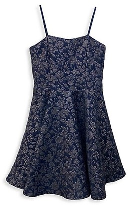 Un Deux Trois Girl's Floral-Print Fit-&-Flare Dress
