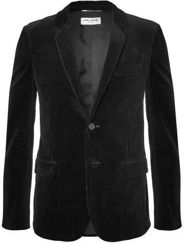 Saint Laurent Black Slim-Fit Cotton-Corduroy Blazer