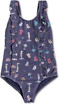 Roxy 1-Pc. Ruffle-Trim Printed Swimsuit, Little Girls