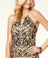 Carmen Marc Valvo Reflections High-Neck Tankini Top
