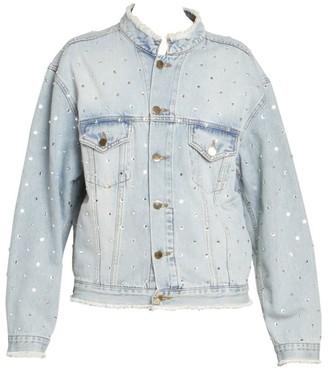 Alexandre Vauthier Crystal Denim Distressed Rhinestone Jacket