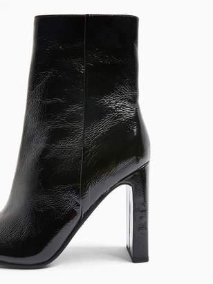 Topshop Halia Square Toe High Heel Boots - Black