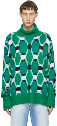 Random Identities Green Jacquard Knit Sweater