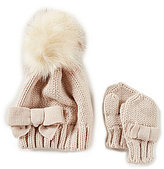 Starting Out Faux-Fur Bow Beanie Hat & Bow Gloves Set