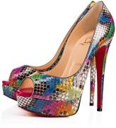 Christian Louboutin Lady Peep 150 Ultra Rose-Multi Python - Women Shoes