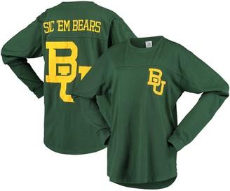 Women's Pressbox Green Baylor Bears Big Shirt Oversized Long Sleeve T-Shirt