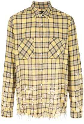 Amiri paint splattered distressed check shirt