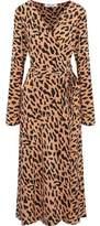 Diane von Furstenberg Leopard-Print Silk Wrap Midi Dress