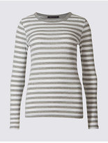 M&S Collection Pure Cotton Striped Long Sleeve T-Shirt