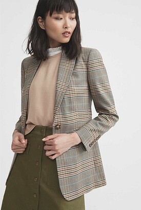 Witchery Relaxed Single-Breasted Check Blazer