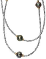 Lagos Luna Beaded Rope Necklace with Seven Tahitian Pearl Stations, 34""