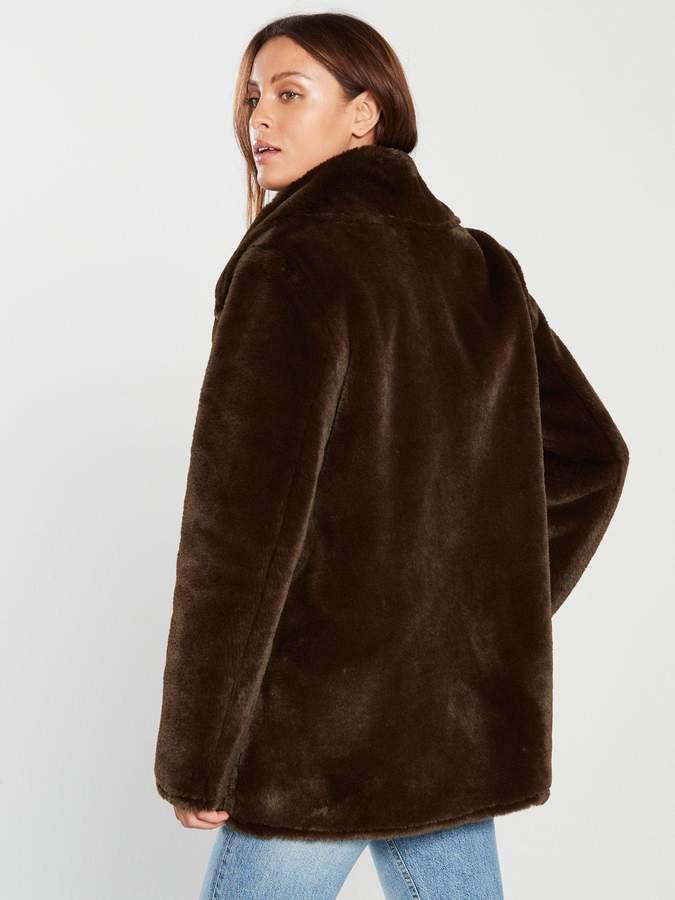 f040a9ab1 Femme Faux Fur Coat - Chocolate