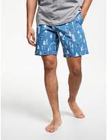 John Lewis & Partners Ski Resort Print Lounge Shorts, Blue
