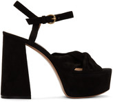 Gianvito Rossi Black Suede Twisted 70 Heeled Sandals