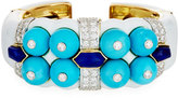 David Webb Sleeping Beauty Turquoise & Lapis Bracelet with Diamonds