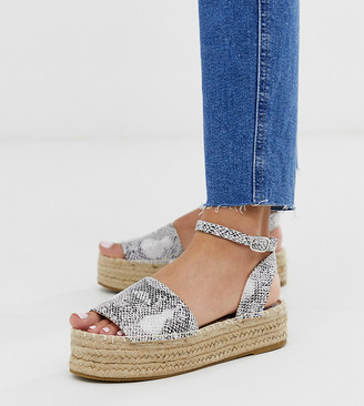 South Beach Exclusive snake flatform espadrille sandals-Beige